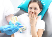 Proper brushing, child dentist — Stock Photo