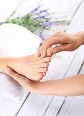 Reflexology, Foot massage — Stock Photo