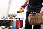 Colorful paint, a professional painting accessories — Stock Photo