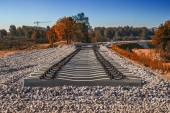 Concrete railway sleepers — Stock Photo