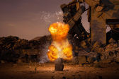 Explosion in the old hall — Stock Photo