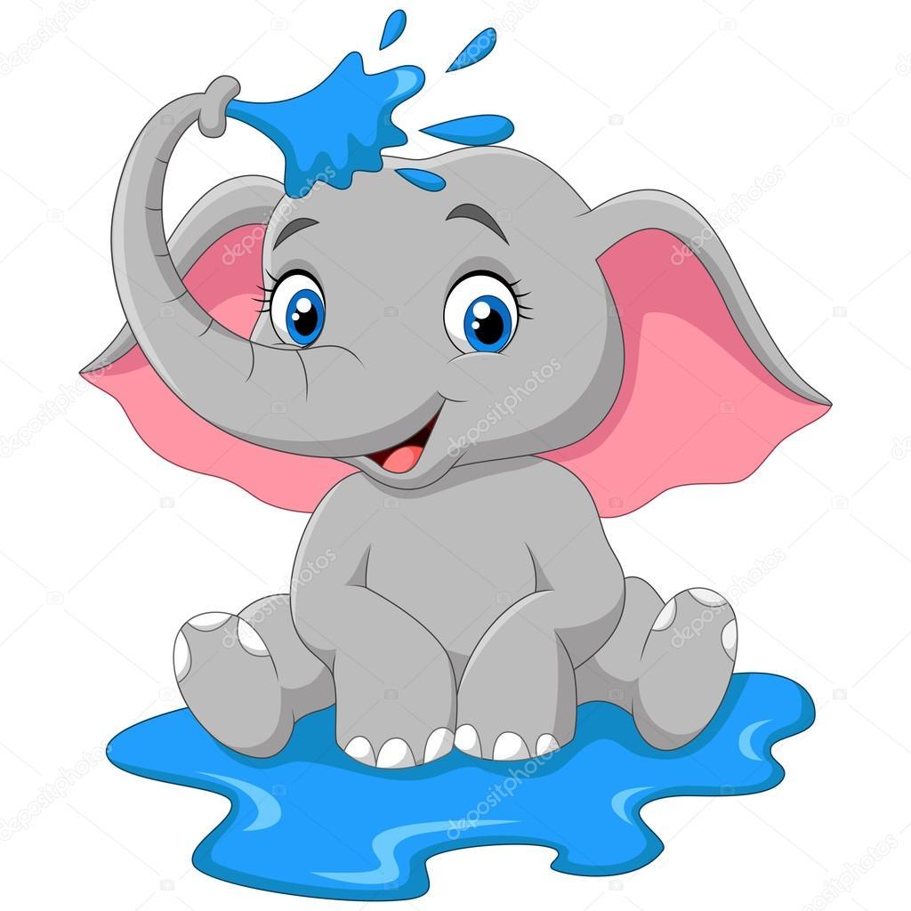 Dibujos animados beb elefante rociando con agua vector - Fotos de elefantes bebes ...