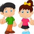 Cartoon boy and girl giving thumb up — Stock Vector #53335155
