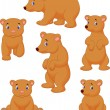 Cute brown bear cartoon collection — Stock Vector #53336031