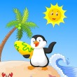 Summer background with penguin — Stock Vector #53336067
