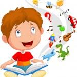 Little boy reading book education concept illustration — Stock Vector #53337967