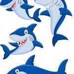 Cartoon shark collection set — Stock Vector #53339039