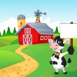 Cartoon cow holding blank sign with farm background — Stock Vector #53339081
