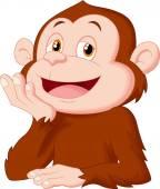 Cartoon chimpanzee thinking — Stock Vector