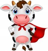 Superhero cow cartoon posing — Stock Vector