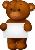 Bear stuff holding blank paper — Stock Vector