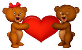 Couple baby bear holding red heart — Stock Vector