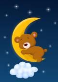 Baby bear sleeping on the moon — Stock Vector