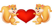 Squirrel couple holding red heart — Stock Vector