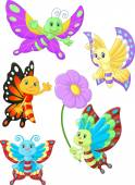 Cute butterfly cartoon collection set — Stock Vector