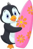 Penguin holding surfing board — Stock Vector