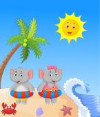 Elephant with inflatable ring at the beach — Stock Vector