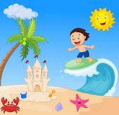 Happy boy cartoon surfing — Stock Vector