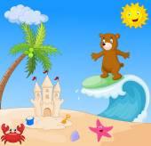 Happy bear cartoon surfing — Stock Vector