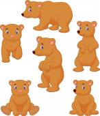 Cute brown bear cartoon collection — Stock Vector