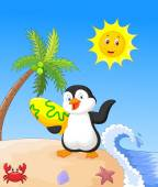 Summer background with penguin — Stock Vector