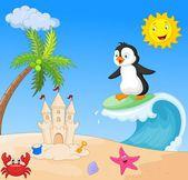 Happy penguin cartoon surfing — Stock Vector
