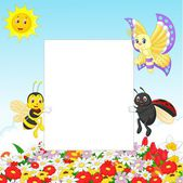 Cute insect with blank sign — Stock Vector
