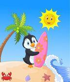 Happy penguin cartoon holding surfboard — Stock Vector