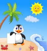 Happy penguin holding blank paper — Stock Vector