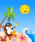 Cute penguin sitting on beach chair — Stock Vector