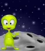 Cute green alien waving hand — Stock Vector