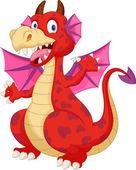 Rot cartoon dragon — Stockvektor