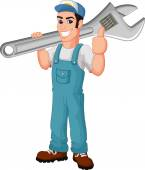Funny mechanic holding wrench and giving thumbs up — Stock Vector