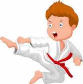 Little boy training karate — Stock Vector