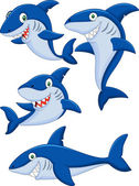 Cartoon shark collection set — Stock vektor