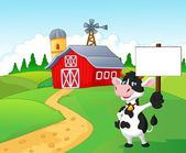 Cartoon cow holding blank sign with farm background — Stock Vector