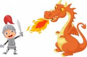 Cartoon knight with fierce dragon — Stock Vector