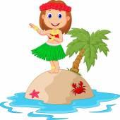 Hula girl in the tropical island — Stock Vector