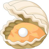 Oyster with a pearl — Stock Vector