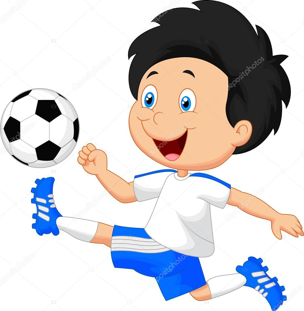 矢量图的卡通男孩踢足球