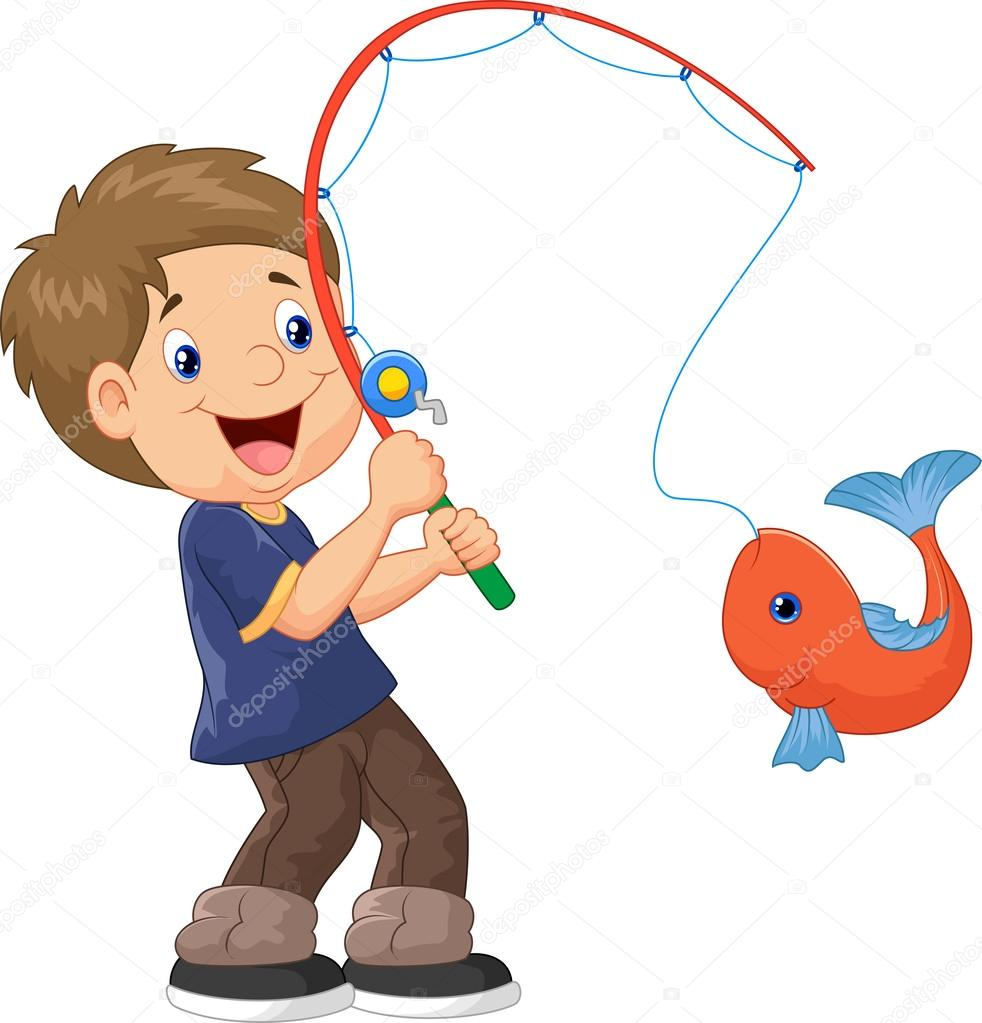 рисунок ребенок ловит рыбу