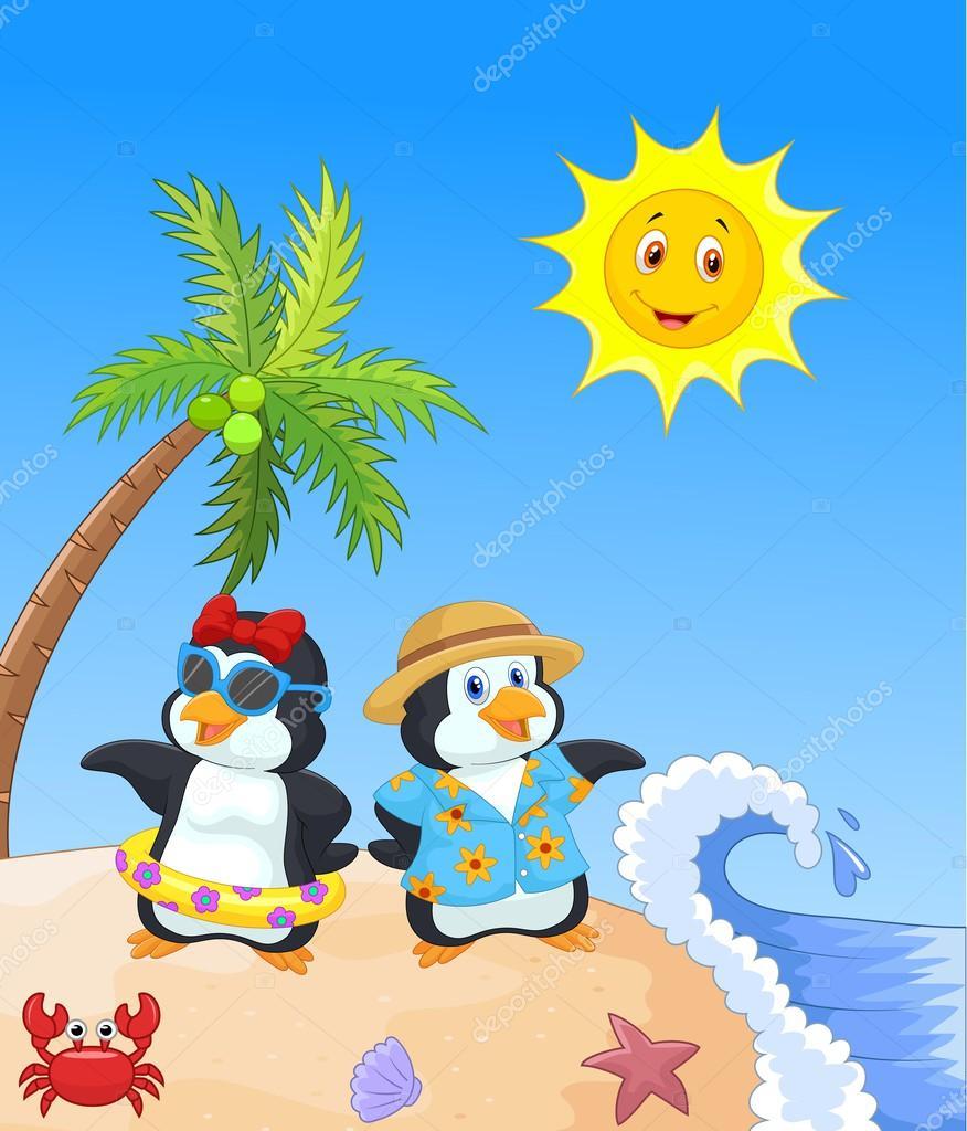 Pingouin dessin anim mignon en vacances d 39 t image vectorielle 53335479 - Dessin anime les pingouins ...