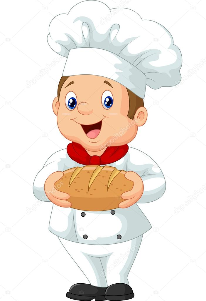 抱着一大块面包厨师简笔画