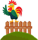Cute rooster crowing on the fence — Stock Vector