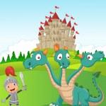 Cartoon knight with three headed dragon — Stock Vector #63455077