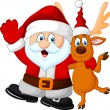 Cartoon Happy Santa and deer — Stock Vector #63456095