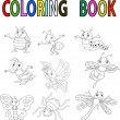 Funny cartoon insect coloring book — Stock Vector #63456839