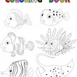 Cartoon fish coloring book — Stock Vector #63457005