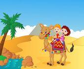 Happy kids cartoon riding camel — Stock Vector