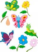 Cartoon butterfly, caterpillar and cocoon — Stock Vector